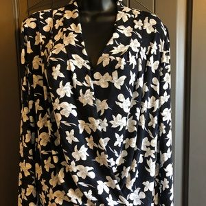 Ann Taylor Cross Top Draped Long Sleeve Floral